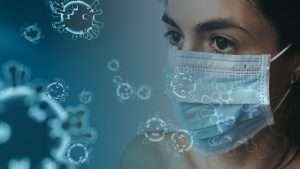women wearing facemask and image to corona virus